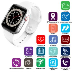 Apl Watch Series 6 M441, 100% копия 44mm Aluminium, беспроводная зарядка, white